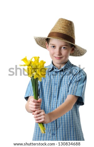 boy giving a daffodils- isolated