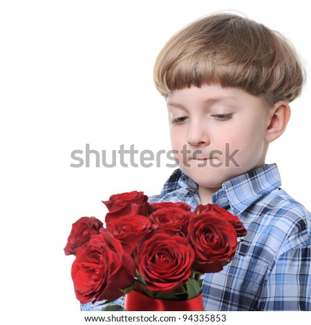 boy giving a rose- isolated