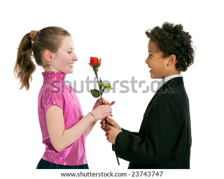 boy giving a rose to a girl, isolated on a white background