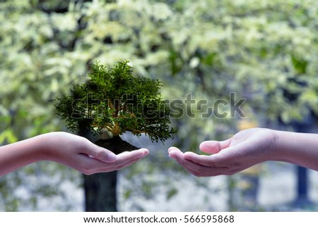 Boy hand and nature background , Ecology concept . Ecology concept . #566595868