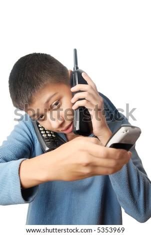 Boy having an urgent talk via three telephones