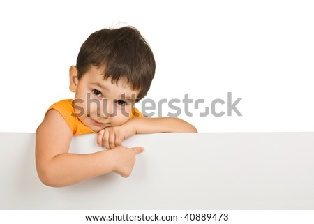 boy holding a blank sign on white background
