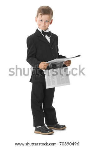 Boy holding a newspaper isolated on white background