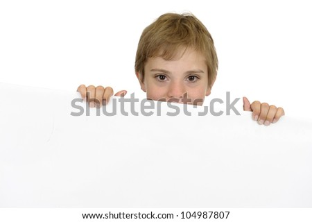 boy holding a white cardboard