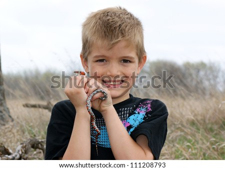 Boy holding a wild coral snake mimic in the prairie, Lampropeltis triangulum syspila