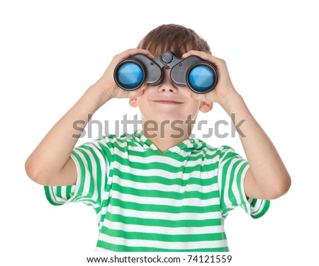 Boy holding binoculars isolated on a white