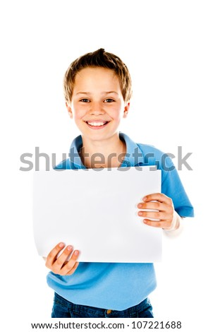 boy holding empty sheet of paper