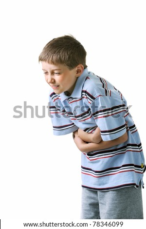 Boy holding his stomach with his hands - EHEC
