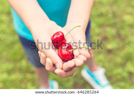 Boy Holding Red Cherries #646285264
