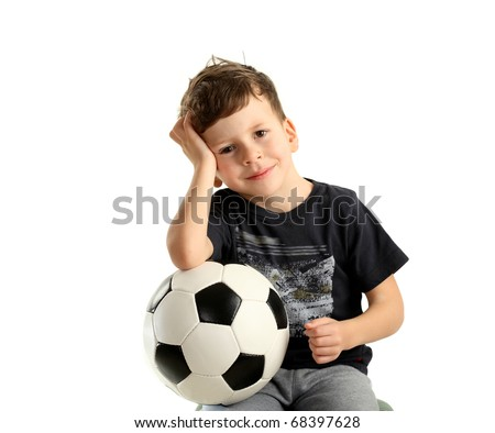 boy holding soccer ball and recreation isolated on white background