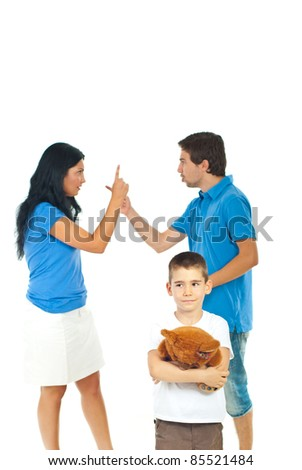 Boy holding teddy bear and suffering about his parents conflict isolated on white background