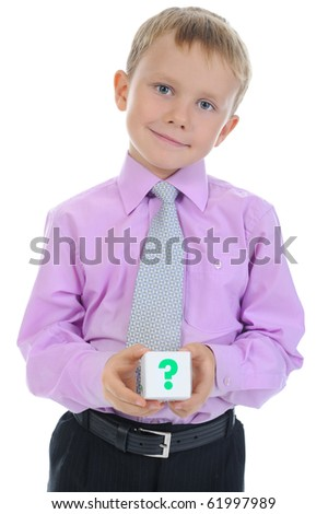 boy holds a cube. Isolated on white background