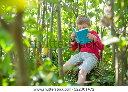 Boy in a tree reading his book.