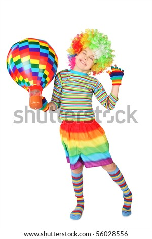 boy in clown dress with multicolored balloon standing isolated on white background
