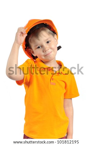boy in construction helmet isolated on white background