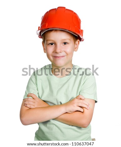 boy in helmet over white background