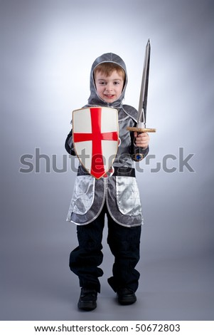 Boy in knight costume