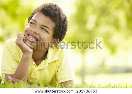 Boy in park portrait #201986953