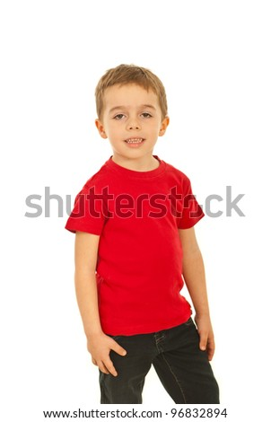 Boy in red blank t-shirt posing isolated on white background