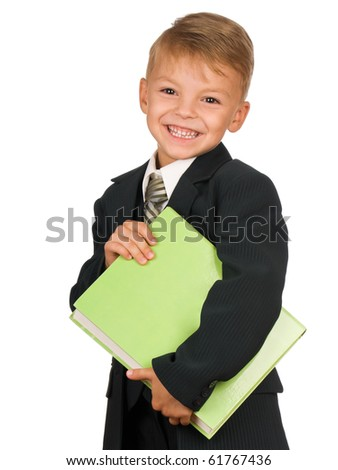 Boy in suit with book isolated on white background. Beautiful caucasian model.