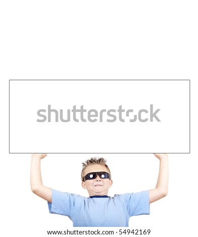 boy in sunglasses have hold out hands with empty label, isolated on white