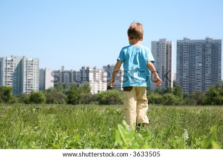 boy in the city - stock photo