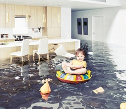 boy in the flooded room. Photo and Media elements mixed