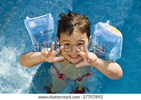 boy in the swimming pool