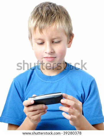 boy is browsing the snapshots on mobile phone