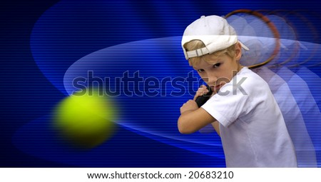Boy is playing tennis, discourages the ball