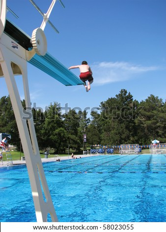 Boy Jumping Off The High Diving Board At A Public Swimming Pool Stock Photo 58023055 Shutterstock