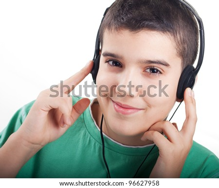 boy listen music - stock photo