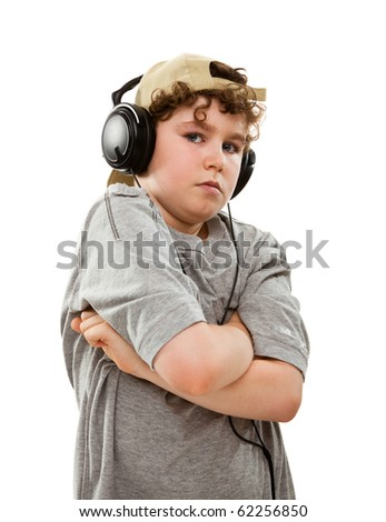 Boy listen to music isolated on white background
