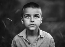 boy looking up,black and white photography