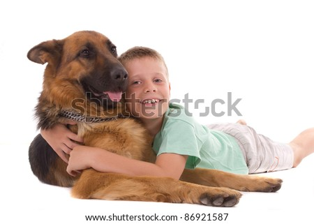 boy lying with his dog