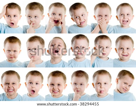 Boy making different faces - stock photo