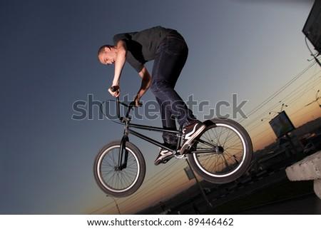 boy on bmx bike - stock photo