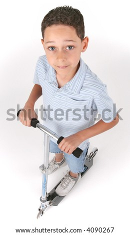 Boy on the scooter over the white background