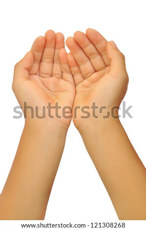 boy open hand (palm) isolated on white background