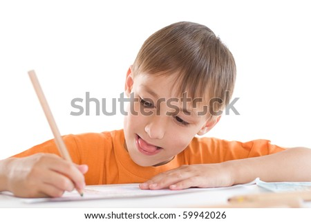 boy paint on a white background