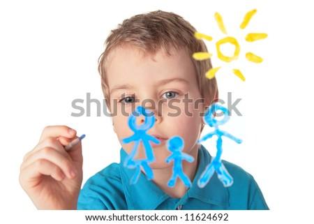 boy paints on glass