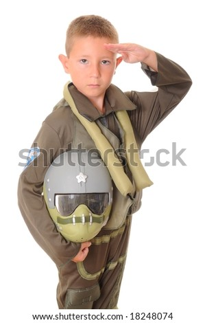 Boy pilot halloween dressed isolated on white