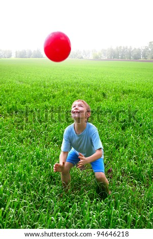boy play with a ball in the summer field