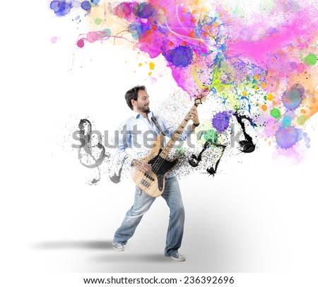 Boy play with bass guitar with colorful effect