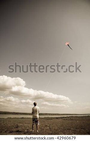 boy play with fly kite. photo...