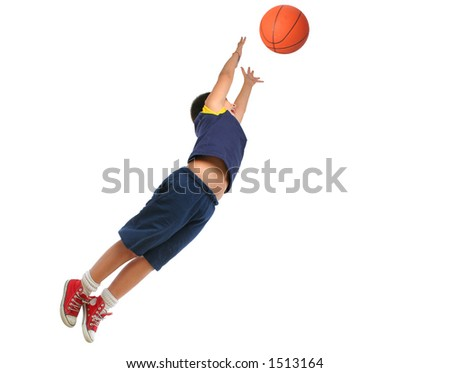 Boy playing basketball isolated. Flying and jumping. From my sport series.