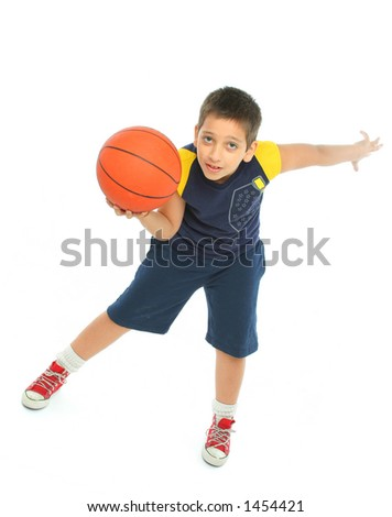 Boy playing basketball isolated. From my sport series.