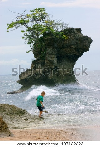 stock-photo-boy-playing-in-the-ocean-waves-with-net-looking-for-shells-and-fish-in-costa-rica-107169623.jpg