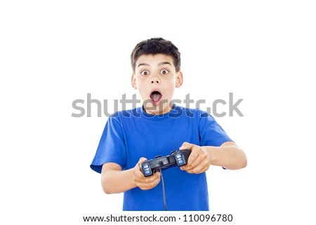 Boy playing on the joystick