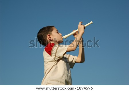 Boy playing the flute